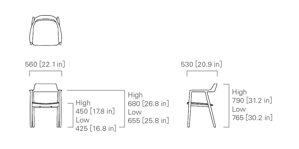 ARMCHAIR (wooden seat) Low/High
