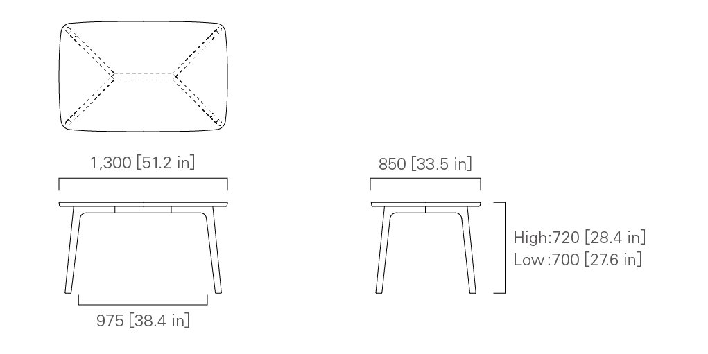 TABLE 130 (rectangular) Low / High