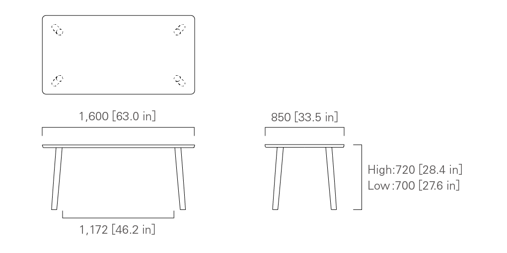 TABLE 160 (rectangular) Low/High