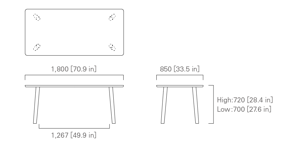 TABLE 180 (rectangular) Low/High