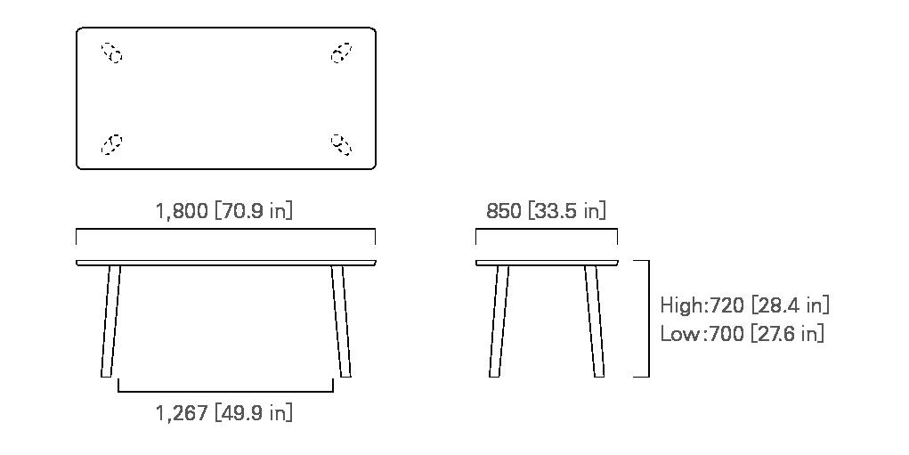 TABLE 180 (rectangular) Low/High