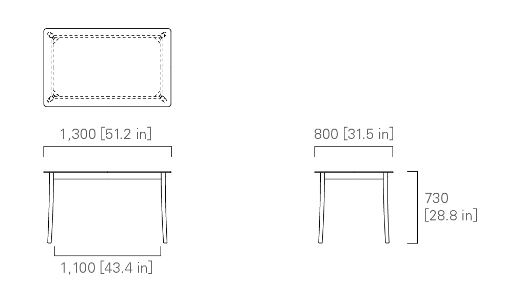TABLE 130 (rectangular, corianⓇ top)