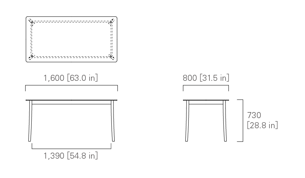 TABLE 160 (rectangular, corianⓇ top)