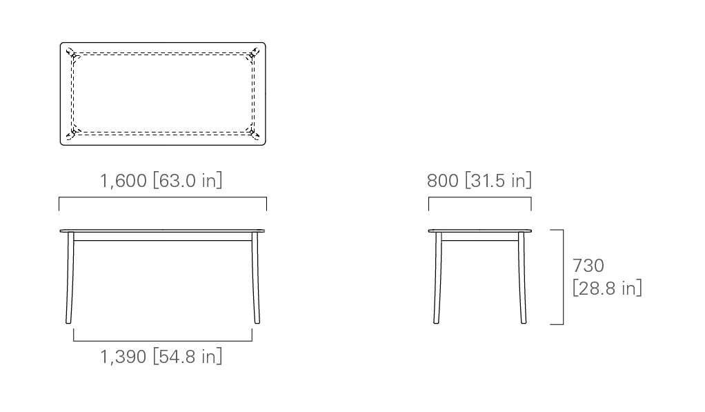 TABLE 160 (rectangular, wooden top)
