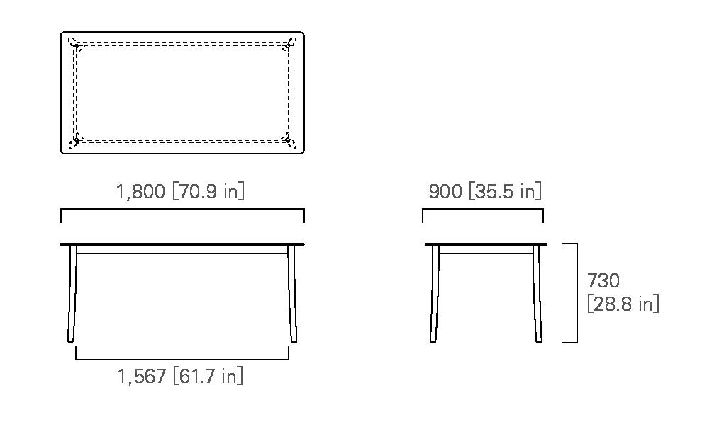 TABLE 180 (rectangular, corianⓇ top)