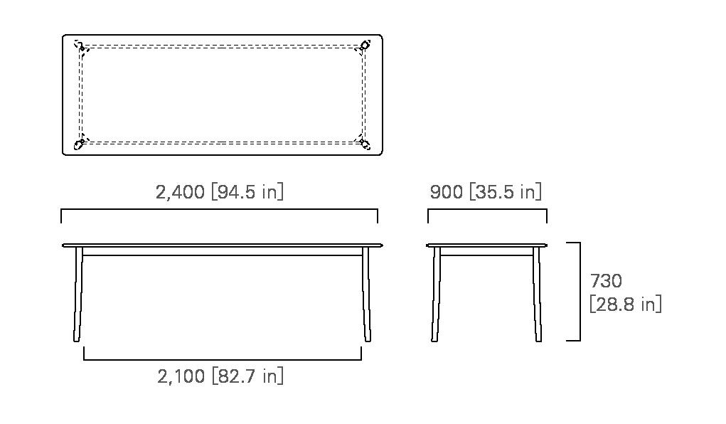TABLE 240 (rectangular, wooden top)
