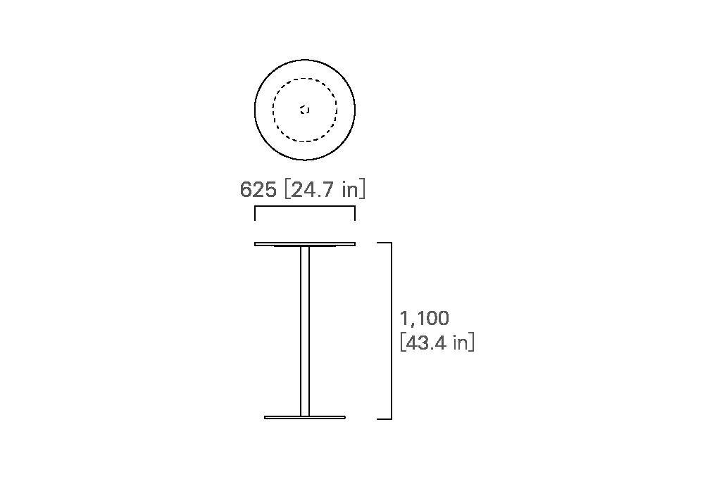 ROUND BAR TABLE 63  (veneered top)