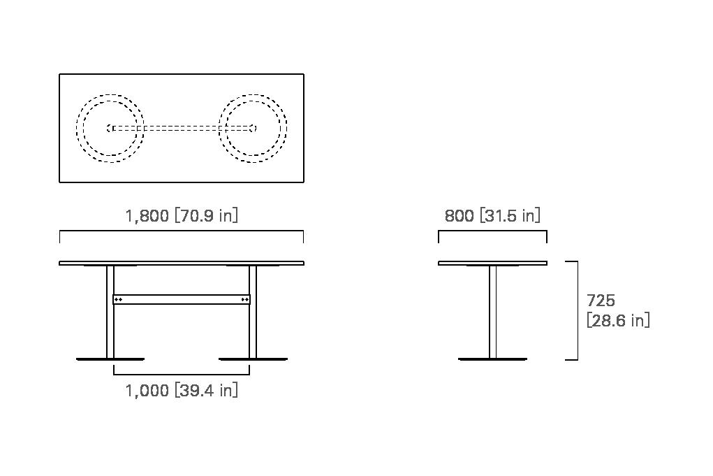 TABLE 180 (rectangular, veneered top / solid wood top)