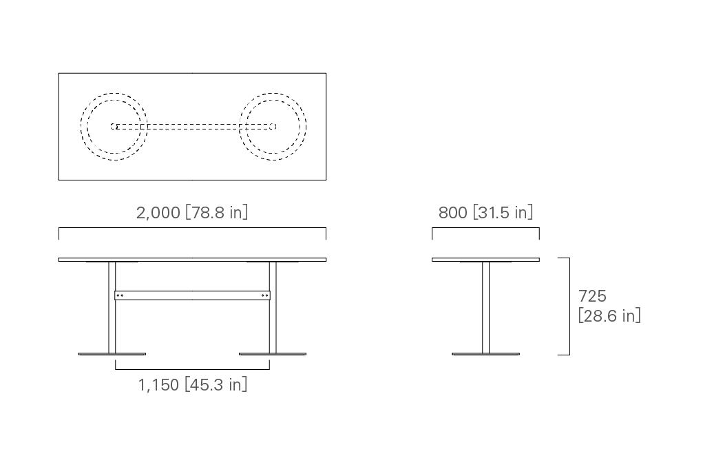 TABLE 200 (rectangular, veneered top / solid wood top)